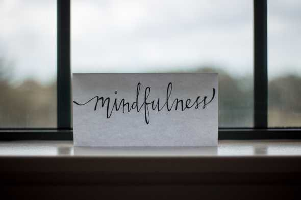 Mindfulness written on a piece of paper